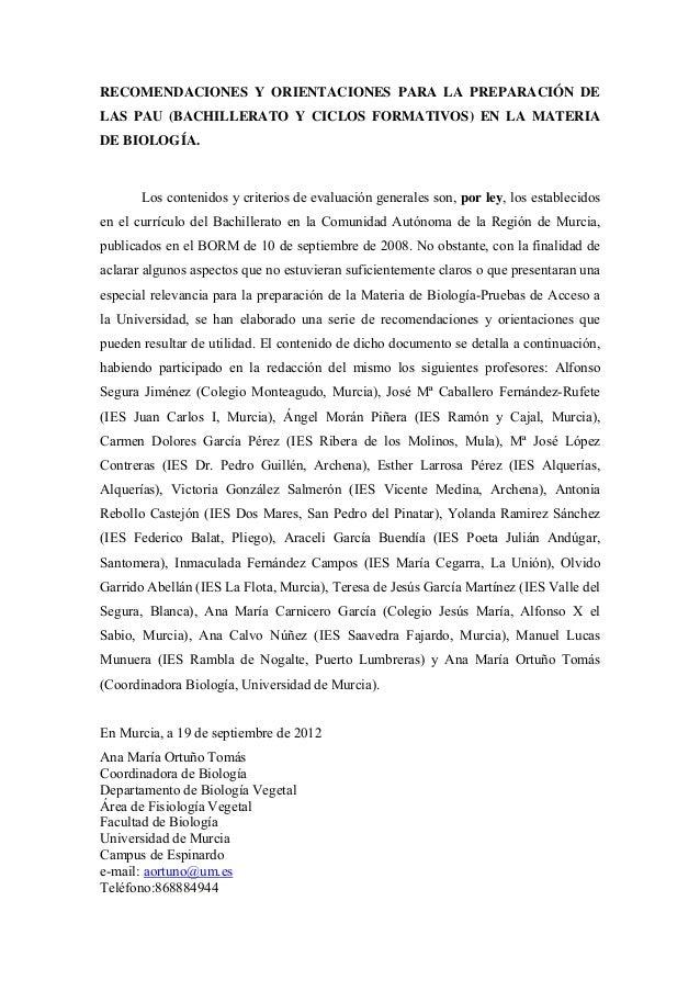 Guia 2012 2013 recomendaciones y orientaciones para las pau_biologia