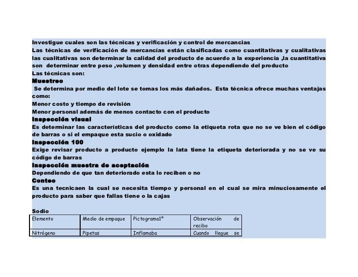 Investigue cuales son las técnicas y verificación y control de mercanciasLas técnicas de verificación de mercancías están ...