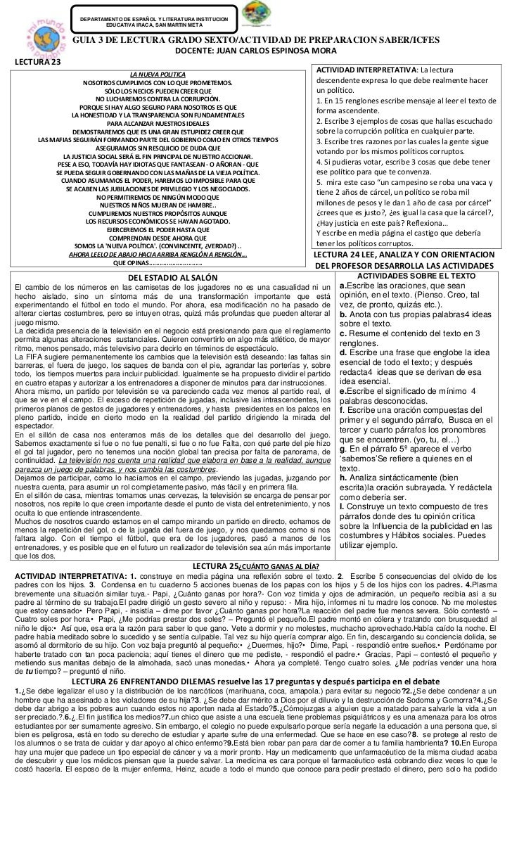 DEPARTAMENTO DE ESPAÑOL Y LITERATURA INSTITUCION                          EDUCATIVA IRACA, SAN MARTIN META                ...