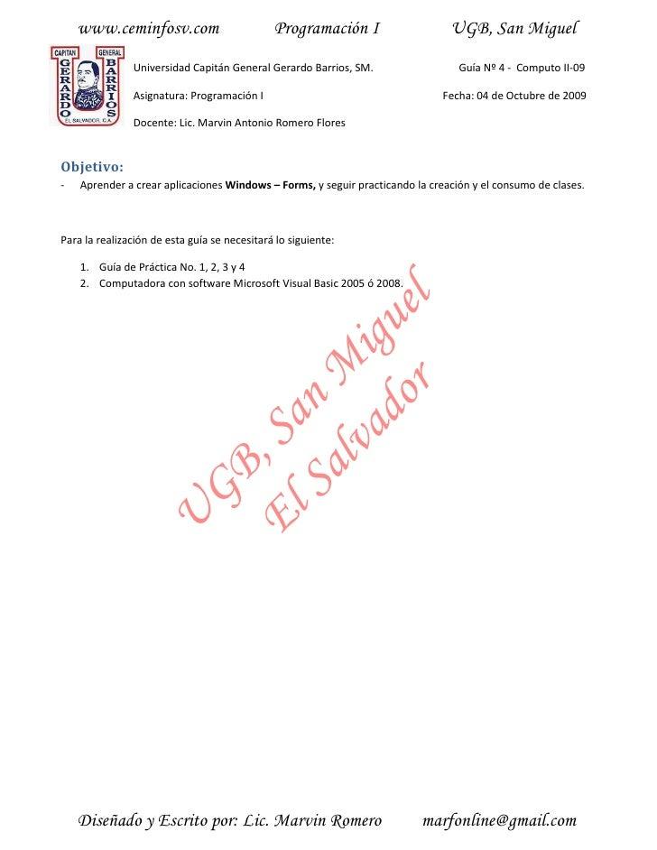 www.ceminfosv.com                         Programación I                   UGB, San Miguel                Universidad Capi...