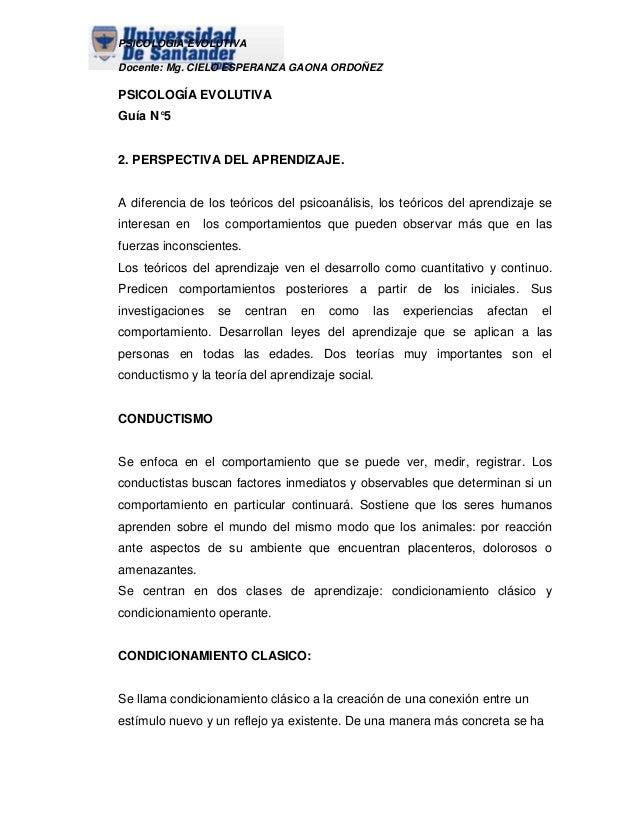 PSICOLOGÍA EVOLUTIVA Docente: Mg. CIELO ESPERANZA GAONA ORDOÑEZ  PSICOLOGÍA EVOLUTIVA Guía N°5  2. PERSPECTIVA DEL APRENDI...