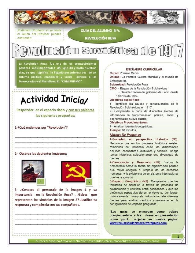 Responder en el espacio dado y con tus palabraslas siguientes preguntas:GUÍA DEL ALUMNO N°5REVOLUCIÓN RUSALa Revolución Ru...