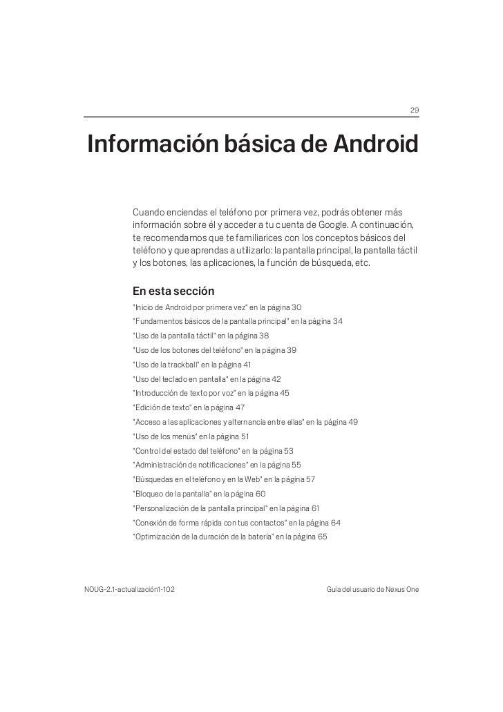 29Información básica de Android              Cuando enciendas el teléfono por primera vez, podrás obtener más             ...