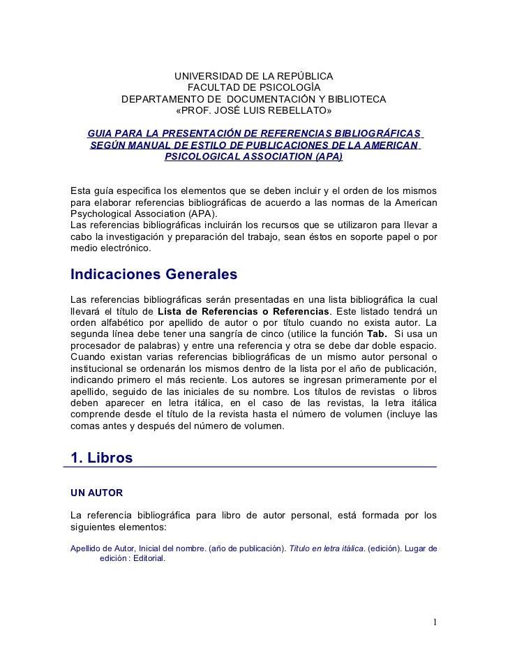 UNIVERSIDAD DE LA REPÚBLICA                         FACULTAD DE PSICOLOGÍA               DEPARTAMENTO DE DOCUMENTACIÓN Y B...