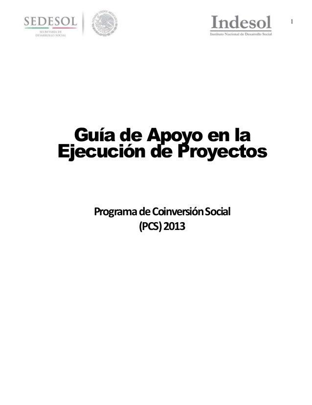 1  Guía de Apoyo en la Ejecución de Proyectos Programa de Coinversión Social (PCS) 2013