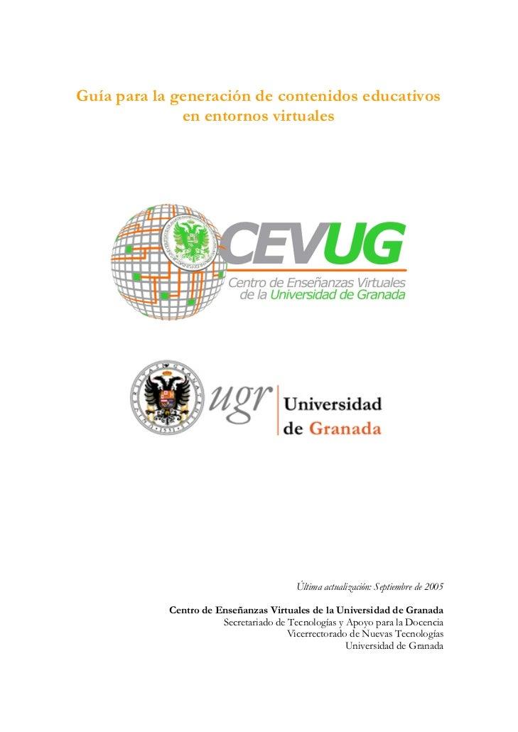 Guía para la generación de contenidos educativos              en entornos virtuales                                       ...