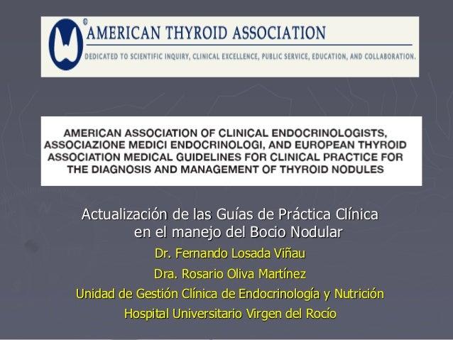 Actualización de las Guías de Práctica Clínica en el manejo del Bocio Nodular Dr. Fernando Losada Viñau Dra. Rosario Oliva...