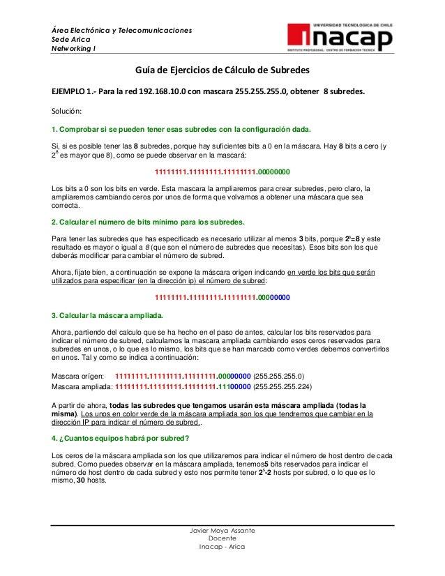 Área Electrónica y TelecomunicacionesSede AricaNetworking IJavier Moya AssanteDocenteInacap - AricaGuía de Ejercicios de C...