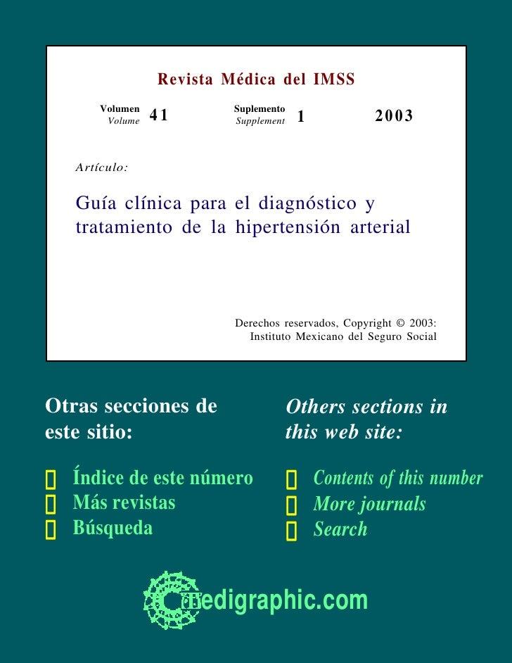 Revista Médica del IMSS        Volumen           Suplemento         Volume   41      Supplement    1            2003     A...