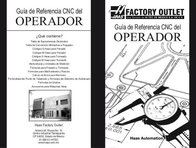 Guía de Referencia CNC del  OPERADOR ¿Qué contiene? Tabla de Equivalencias Decimales Tabla de Conversión Milímetros a Pulg...