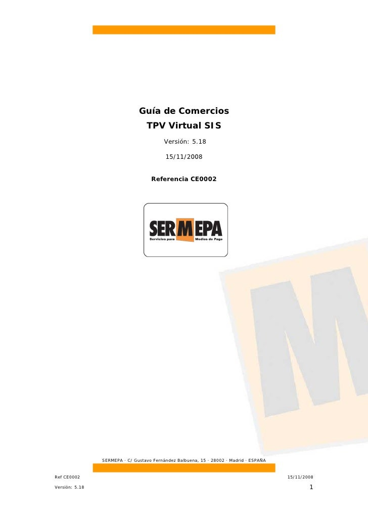 Guía de Comercios                                   TPV Virtual SIS                                           Versión: 5.1...