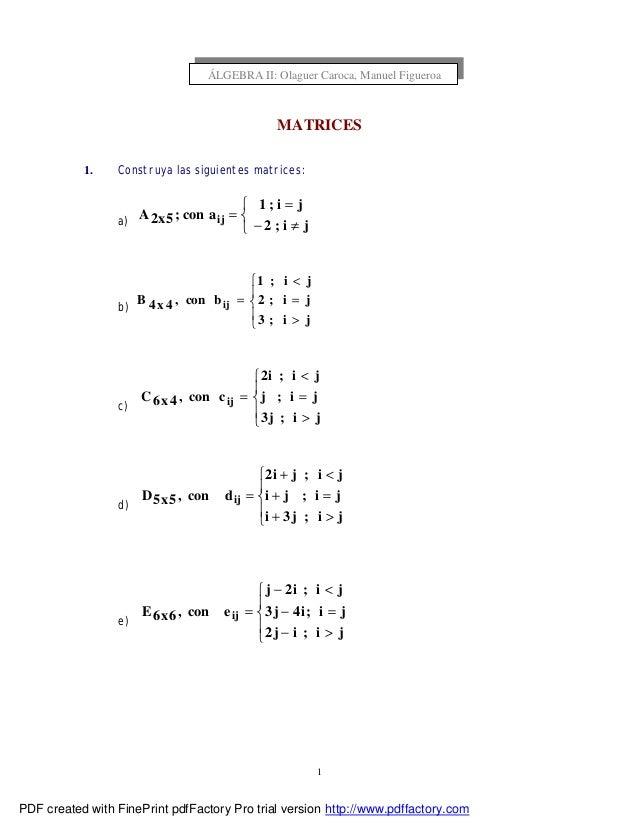 1 MATRICES 1. Construya las siguientes matrices: a)    ≠− = = ji;2 ji;1 acon;5x2A ij b)      > = < = ji;3 ji;2 ji;...