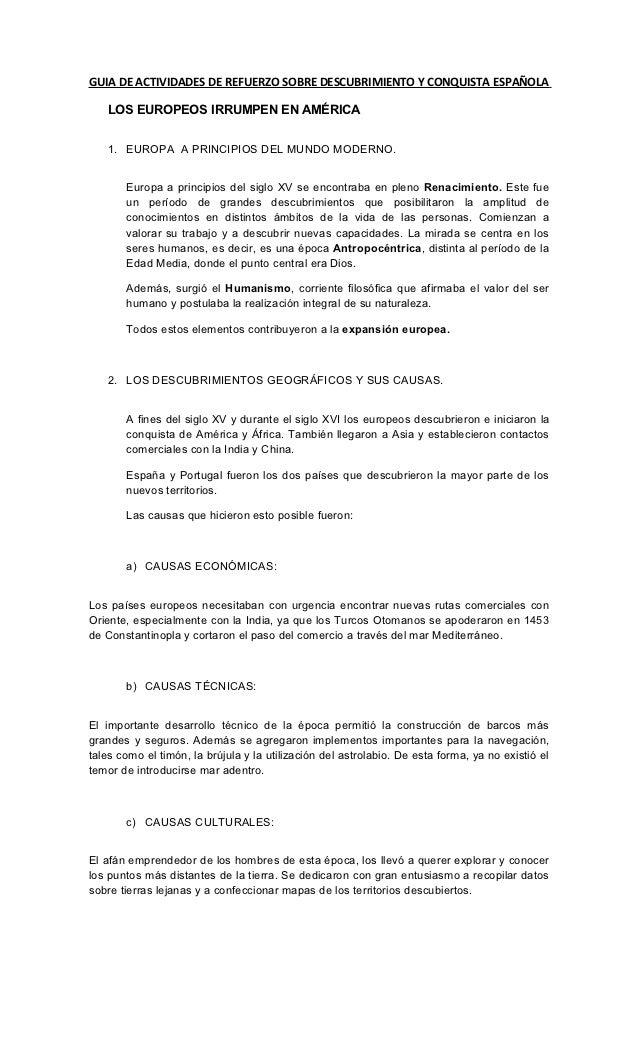 GUIA DE ACTIVIDADES DE REFUERZO SOBRE DESCUBRIMIENTO Y CONQUISTA ESPAÑOLA   LOS EUROPEOS IRRUMPEN EN AMÉRICA   1. EUROPA A...