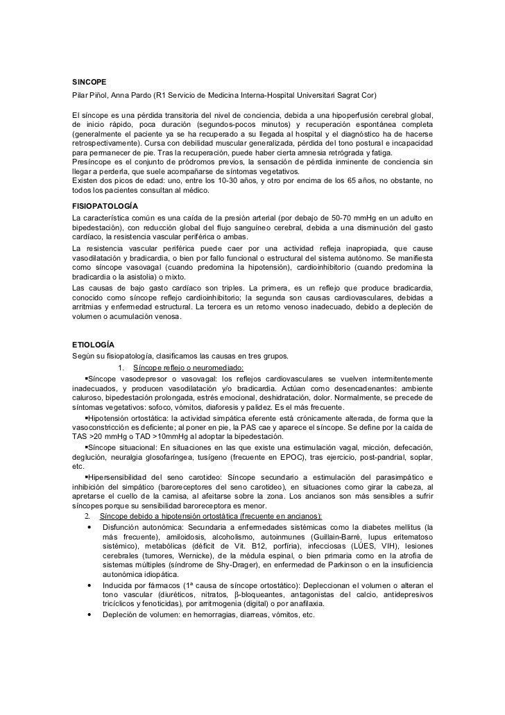 SINCOPEPilar Piñol, Anna Pardo (R1 Servicio de Medicina Interna-Hospital Universitari Sagrat Cor)El síncope es una pérdida...