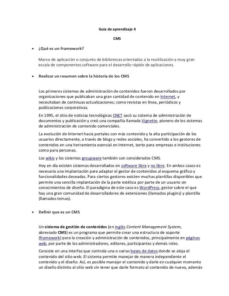 Guía de aprendizaje 4                                             CMS•   ¿Qué es un Framework?    Marco de aplicación o co...