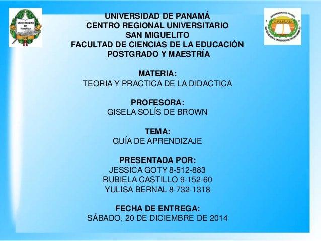 UNIVERSIDAD DE PANAMÁ CENTRO REGIONAL UNIVERSITARIO SAN MIGUELITO FACULTAD DE CIENCIAS DE LA EDUCACIÓN POSTGRADO Y MAESTRÍ...