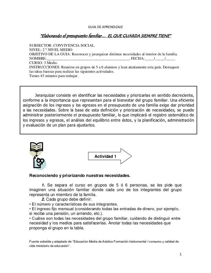 """GUIA DE APRENDIZAJE          """"Elaborando el presupuesto familiar… EL QUE GUARDA SIEMPRE TIENE""""   SUBSECTOR: CONVIVENCIA SO..."""