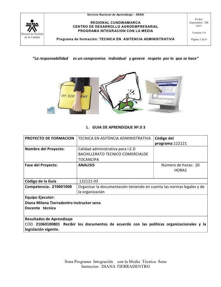 GUIA  DE  APRENDIZAJE Nº3  RECIBIR LA DOCUMENTACION