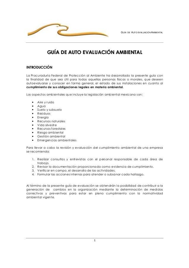 GUÍA DE AUTO EVALUACIÓN AMBIENTAL  GGUUÍÍAA DDEE AAUUTTOO EEVVAALLUUAACCIIÓÓNN AAMMBBIIEENNTTAALL  1  INTRODUCCIÓN  La Pro...