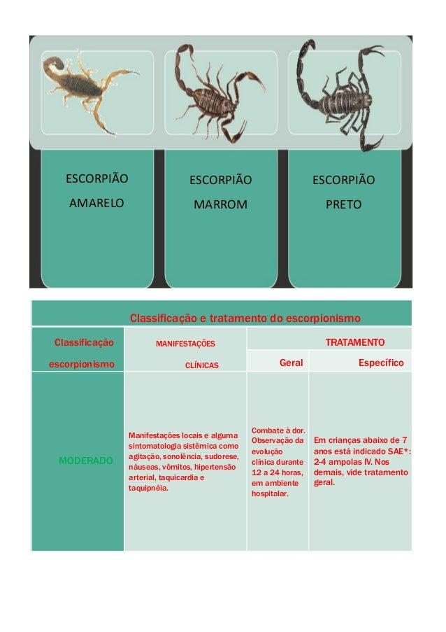 ESCORPIÃO AMARELO ESCORPIÃO MARROM ESCORPIÃO PRETO Classificação e tratamento do escorpionismo Classificação escorpionismo...