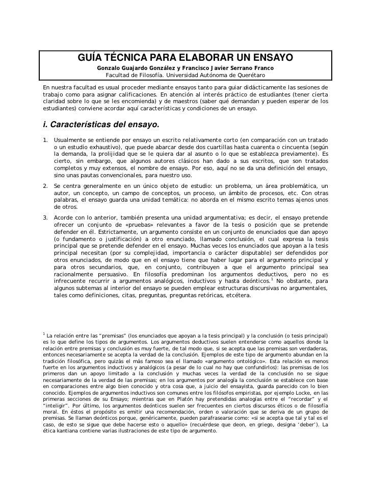 GUÍA TÉCNICA PARA ELABORAR UN ENSAYO                      Gonzalo Guajardo González y Francisco Javier Serrano Franco     ...