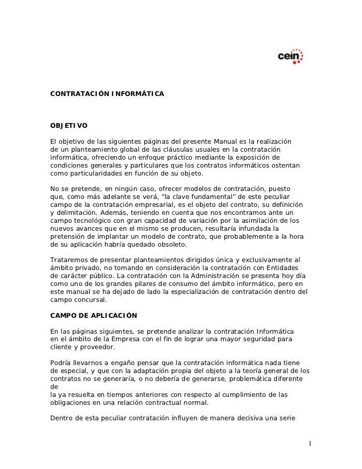 CONTRATACIÓN INFORMÁTICAOBJETIVOEl objetivo de las siguientes páginas del presente Manual es la realizaciónde un planteami...