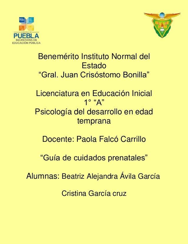 """Benemérito Instituto Normal del Estado  """"Gral. Juan Crisóstomo Bonilla""""  Licenciatura en Educación Inicial  1° """"A""""  Psicol..."""