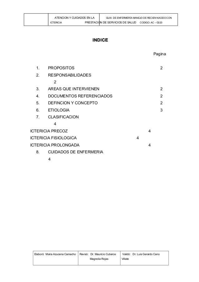 ATENCION Y CUIDADOS EN LA GUIA DE ENFERMERÍA MANEJO DE RECIEN NACIDO CONICTERICIA PRESTACION DE SERVICIOS DE SALUD CODIGO:...