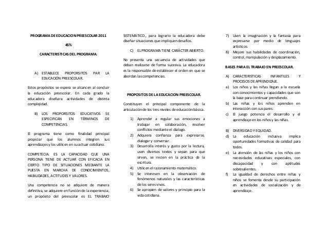PROGRAMA DE EDUCACION PREESCOLAR 2011 45% CARACTERISTICAS DEL PROGRAMA. A) ESTABLECE PROPORSITOS PAR LA EDUCACIÓN PREESCOL...