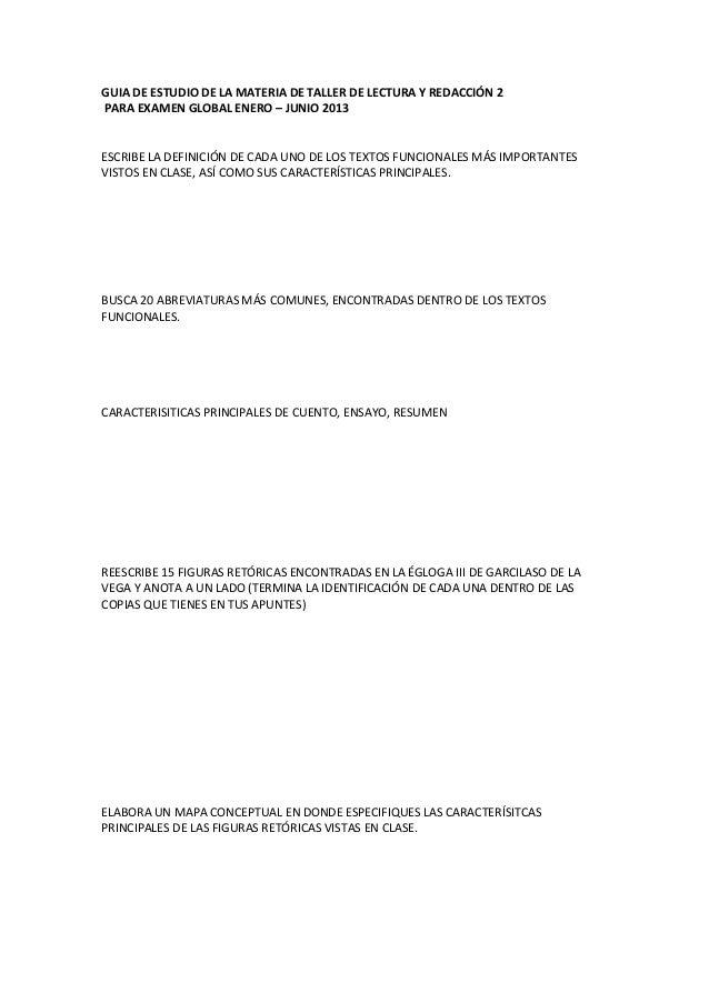 Guia de estudio de la materia de taller de lectura y redacción 2
