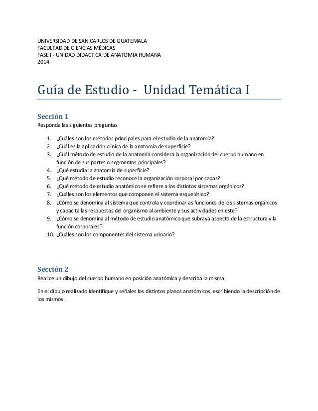 Guia de estudio para la unidad temática de introducción a la anatomía humana