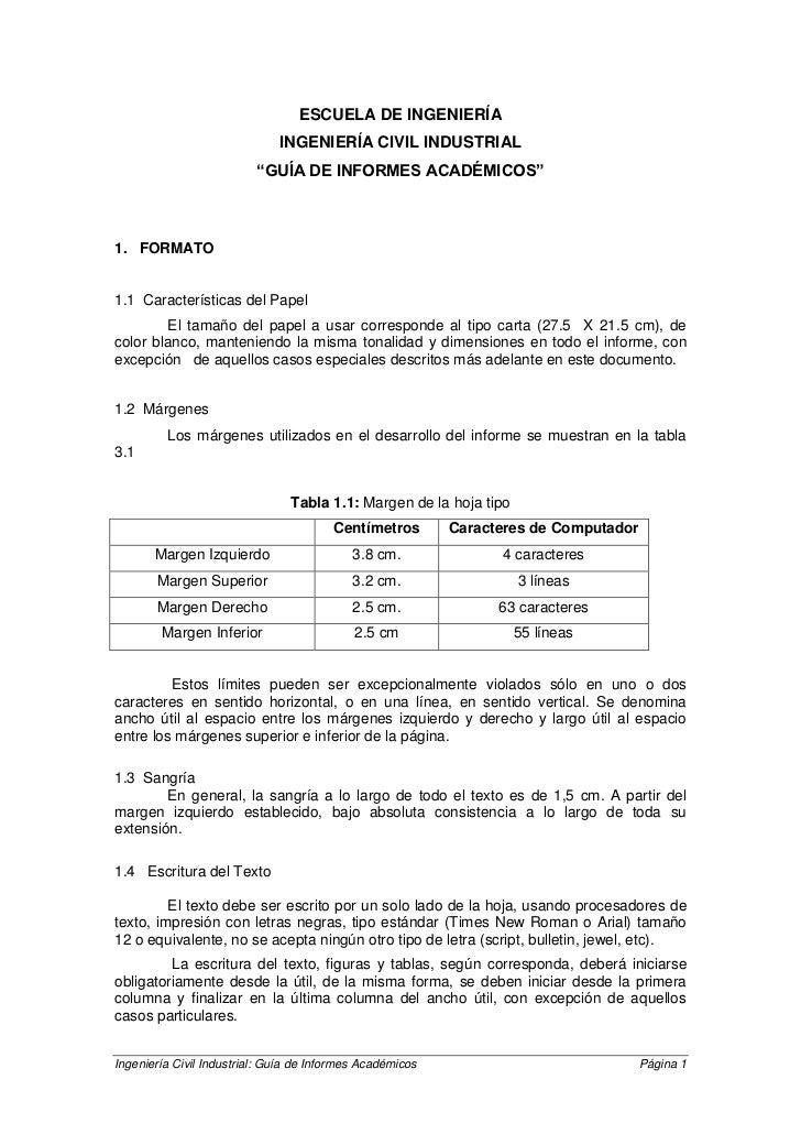 """ESCUELA DE INGENIERÍA                              INGENIERÍA CIVIL INDUSTRIAL                          """"GUÍA DE INFORMES ..."""