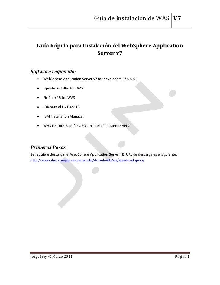 Guía de instalación de WAS V7   Guía Rápida para Instalación del WebSphere Application                          Server v7S...