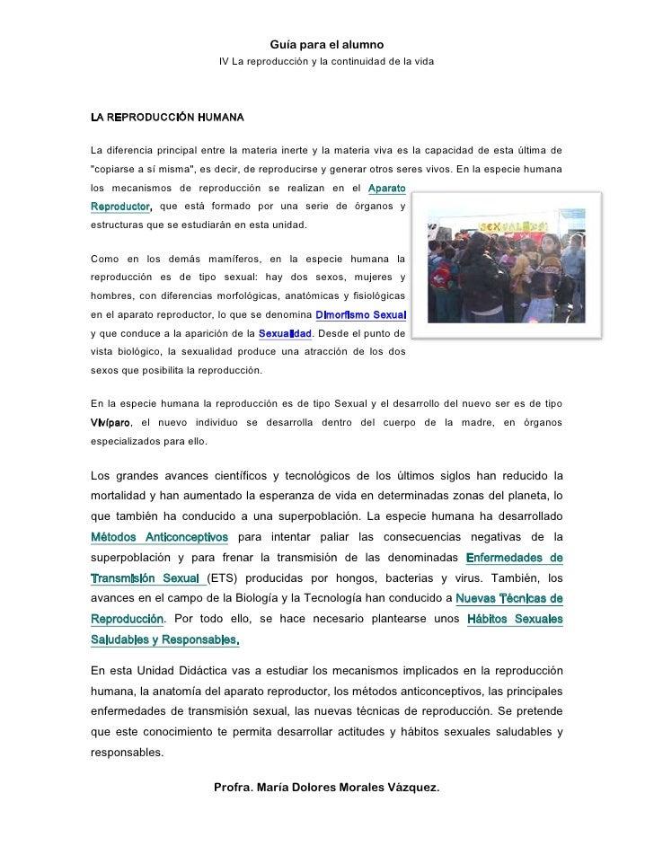 Guía para el alumno                            IV La reproducción y la continuidad de la vidaLA REPRODUCCIÓN HUMANALa dife...