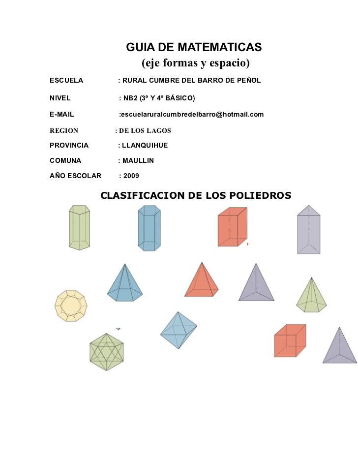 GUIA DE MATEMATICAS                    (eje formas y espacio) ESCUELA       : RURAL CUMBRE DEL BARRO DE PEÑOL  NIVEL      ...