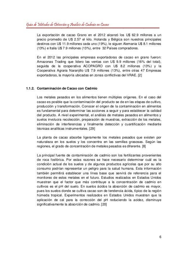 Guia de Métodos de Detección y Análisis de Cadmio en Cacao