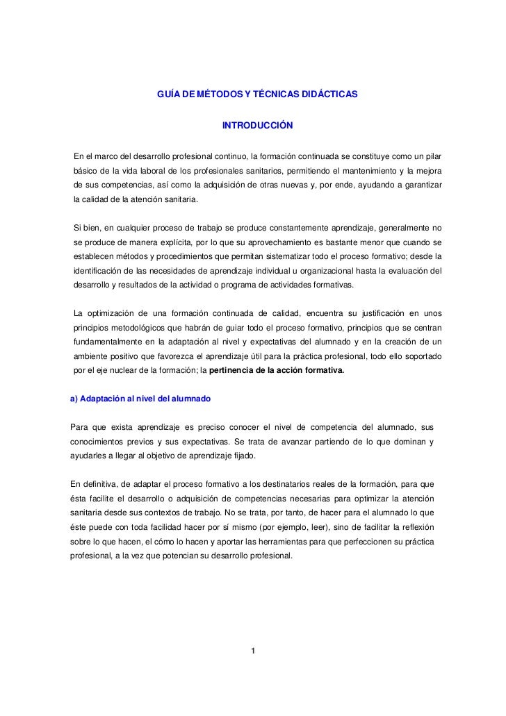 GUÍA DE MÉTODOS Y TÉCNICAS DIDÁCTICAS                                           INTRODUCCIÓNEn el marco del desarrollo pro...