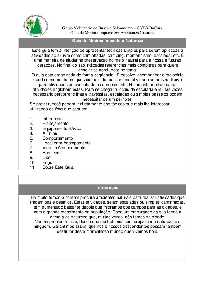 Grupo Voluntário de Busca e Salvamento – GVBS-ItaCrux                    Guia de Mínimo Impacto em Ambientes Naturais     ...