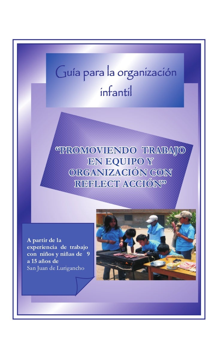 """Guía para la organización                         infantil         """"PROMOVIENDO TRABAJO              EN EQUIPO Y          ..."""