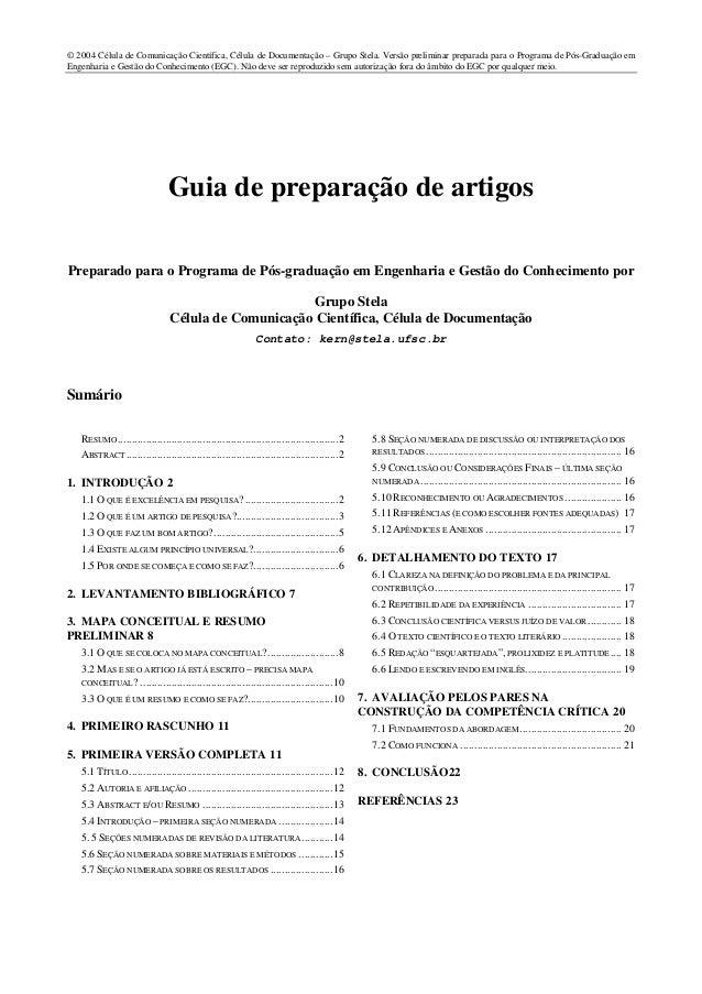 © 2004 Célula de Comunicação Científica, Célula de Documentação – Grupo Stela. Versão preliminar preparada para o Programa...