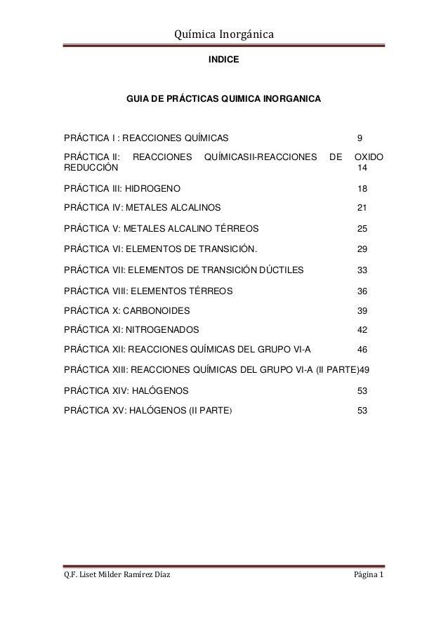 Química Inorgánica                                       INDICE                 GUIA DE PRÁCTICAS QUIMICA INORGANICAPRÁCTI...