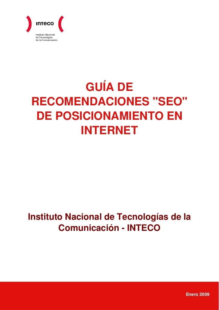 """Instituto Nacional  de Tecnologías  de la Comunicación             GUÍA DE RECOMENDACIONES """"SEO""""  DE POSICIONAMIENTO EN   ..."""