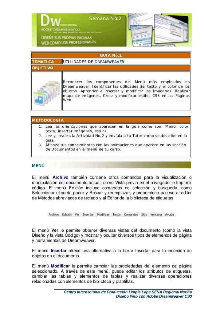 Semana No.2                                   GUIA No.2TEMATICA        UTILIDADES DE DREAMWEAVEROBJETIVO                Re...