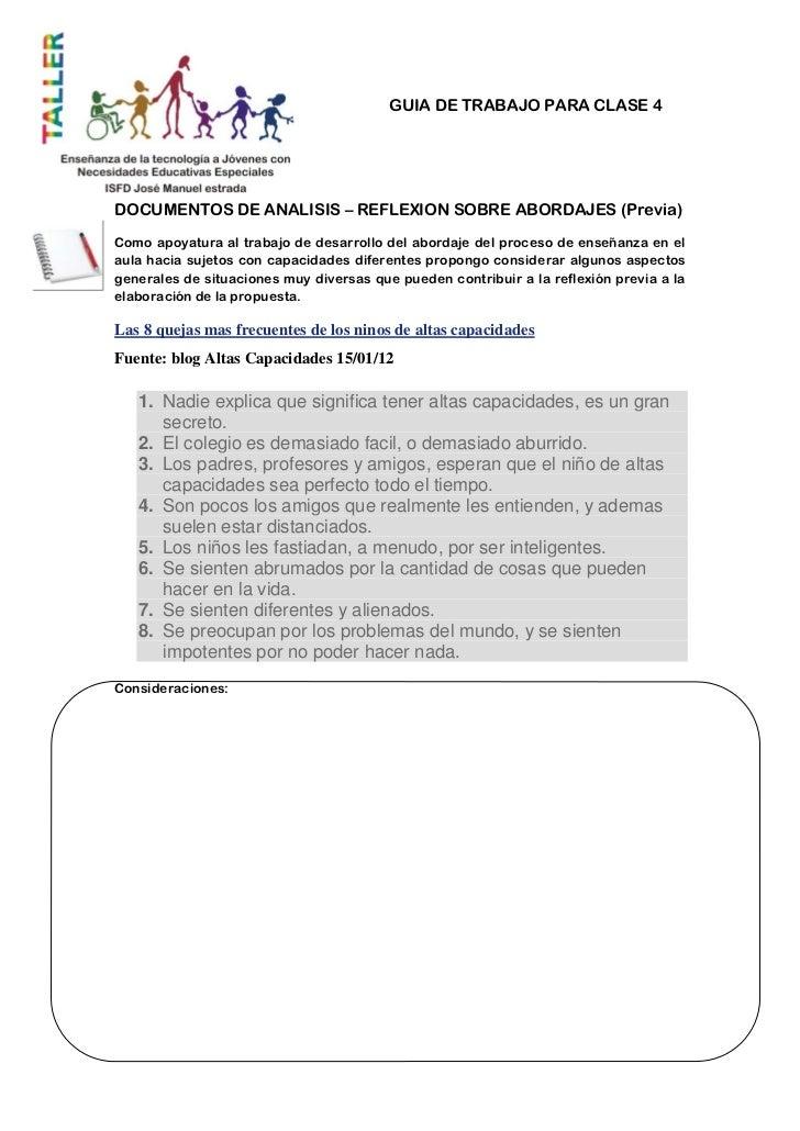 GUIA DE TRABAJO PARA CLASE 4DOCUMENTOS DE ANALISIS – REFLEXION SOBRE ABORDAJES (Previa)Como apoyatura al trabajo de desarr...