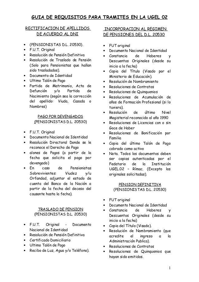 GUIA DE REQUISITOS PARA TRAMITES EN LA UGEL 02 RECTIFICACION DE APELLIDOS DE ACUERDO AL DNI • (PENSIONISTAS D.L. 20530). •...