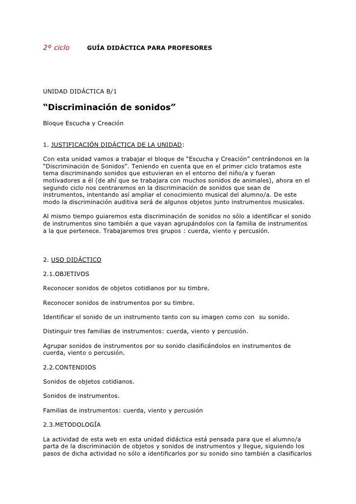 """2º ciclo       GUÍA DIDÁCTICA PARA PROFESORES     UNIDAD DIDÁCTICA B/1  """"Discriminación de sonidos"""" Bloque Escucha y Creac..."""