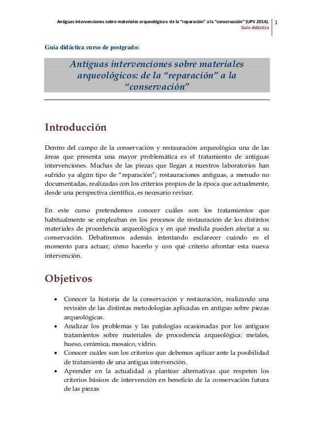 """Antiguas intervenciones sobre materiales arqueológicos: de la """"reparación"""" a la """"conservación"""" (UPV 2014). Guía didáctica ..."""