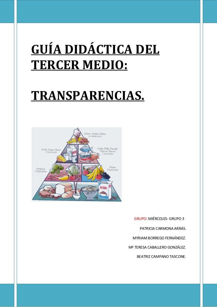 GUÍA DIDÁCTICA DELTERCER MEDIO:TRANSPARENCIAS.               GRUPO: MIÉRCOLES- GRUPO 3                  PATRICIA CARMONA A...