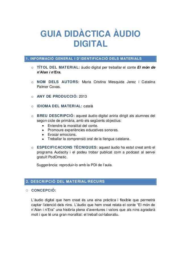 Guia didàctica àudio digital