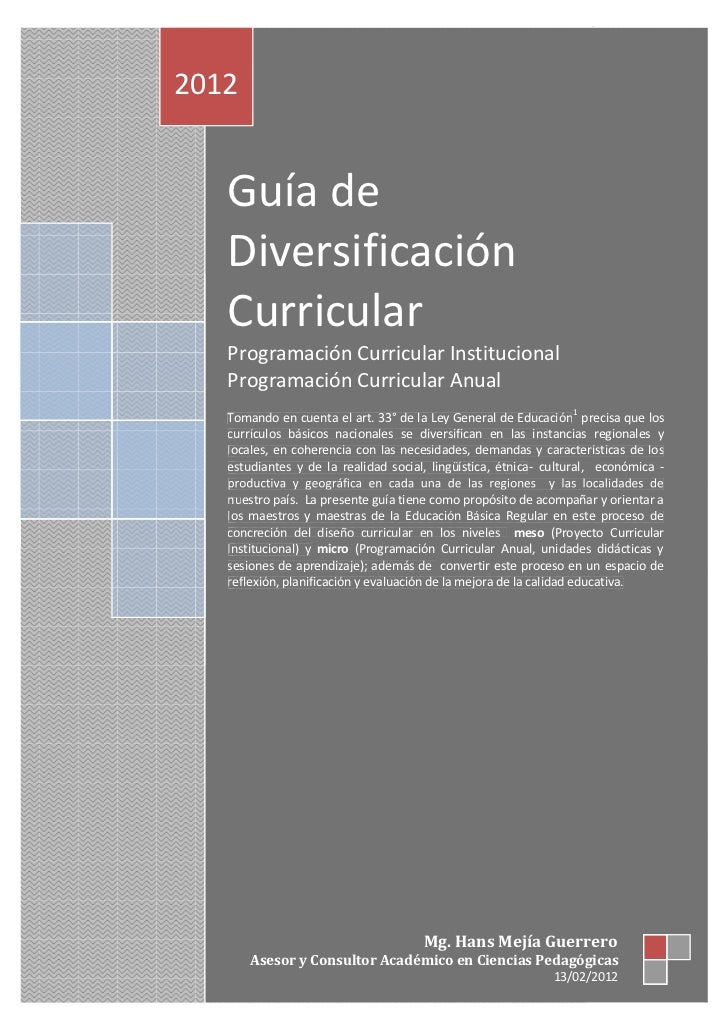 Guía de Diversificación Curricular 20122012   Guía de   Diversificación   Curricular   Programación Curricular Institucion...